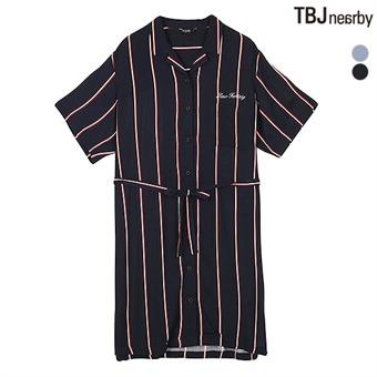 여성 5부 Y넥 원피스형 셔츠(T192SH800P)