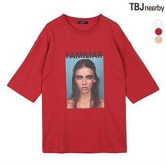 여성 인물 전사프린트 티셔츠(T192TS740P)