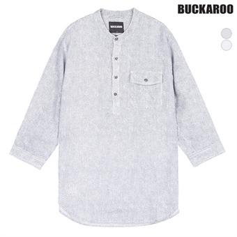 남성 린넨 100% 칠부소매 헨리넥 셔츠(B192Z5450P)