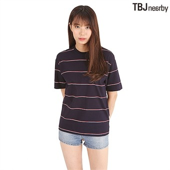유니 싱글 핀스트라이프 티셔츠(T192TS090P)