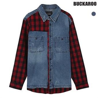 남성 오버핏 체크 패치 데님셔츠 (B194DS140P)