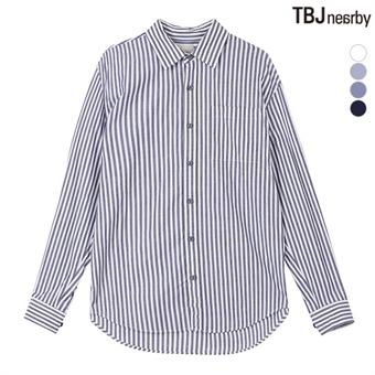남성 코튼스판 루즈핏 스트라이프 셔츠(T195SH101P)