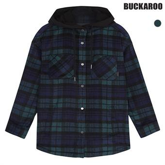 유니 후드배색 체크 셔츠 (B195Z5070P)