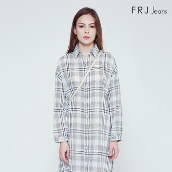 여성 온부 기본카라 체크 롱셔츠 (F92F-SH533B)