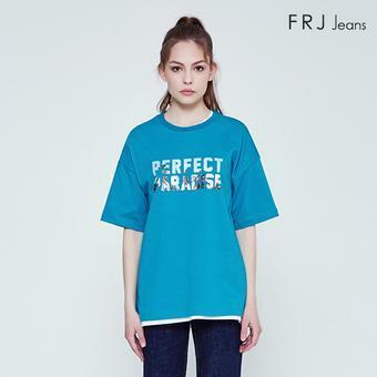 싱글 전사레터링 유니 티셔츠 (F92U-TM103B)