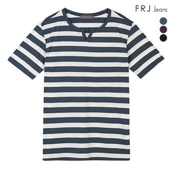 남성 싱글 헨리넥 스트라이프 티셔츠 (F92M-TM214A)