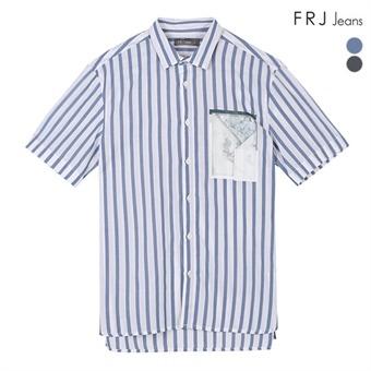 남성 5부 기본카라 싱글 스트라이프 전사셔츠 (F92M-SH064A)