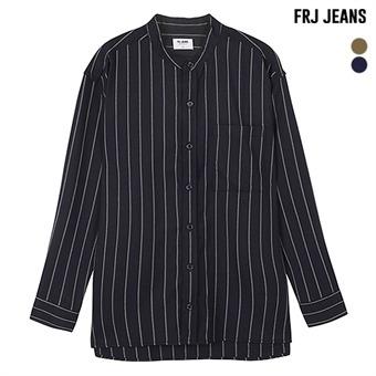 남성 오버핏 헨리넥 스트라이프 셔츠(F93M-SH017B)