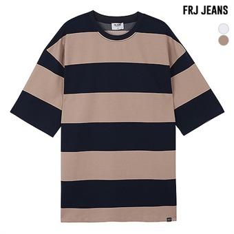 남성 오버핏 CP스판 스트라이프 5부 티셔츠(F93M-TM097S)