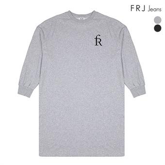 여성 삼단쭈리 옆 트임 롱 티셔츠(F93F-TS518A)