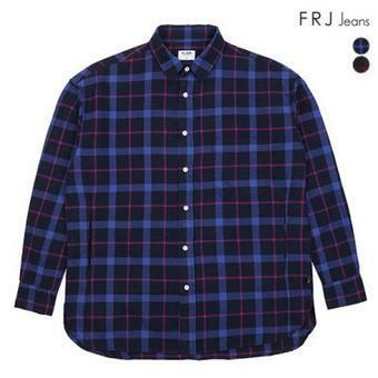 남성 오버핏 플란넬 체크 셔츠(F94M-SH058B)