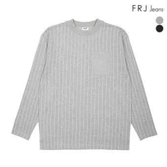 남성 오버핏 세로 스트라이프 반하이넥 티셔츠(F94M-TS019A)