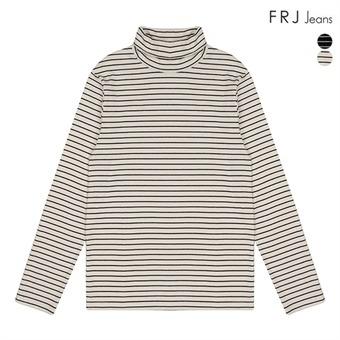 여성 후라이스 스판 스트라이프 터틀넥 티셔츠(F94F-TS539A)