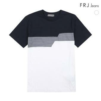 남성 프린트 배색 절개 티셔츠 (F72M-TM303B)