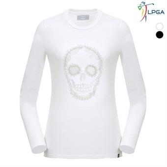 여B 스컬자수 터틀넥 티셔츠(L181TS551P)