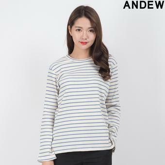여성 라운드 골지 스트라이프 티셔츠(O171TS503P)