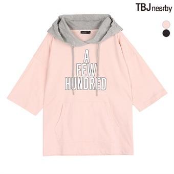 여성 16수 레터링그래픽 후드 풀오버 티셔츠(T182TS820P)