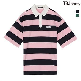 여성 16수 싱글 스트라이프 카라 티셔츠(T182TS830P)