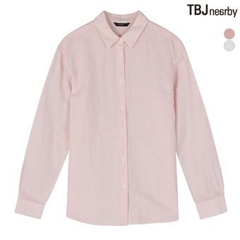 여성 온부소매 코튼린넨 제기장 세미루즈핏 셔츠(T172SH700P)