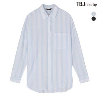 여성 온부소매 중기장 루즈핏 셔츠 (T172SH720P)