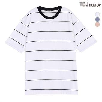 유니 라운드 핀 스트라이프 루즈핏 티셔츠(T172TS081P)