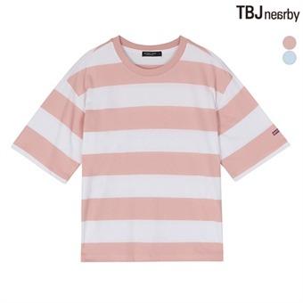 여성 숏기장 굵은 스트라이프 티셔츠(T172TS602P)