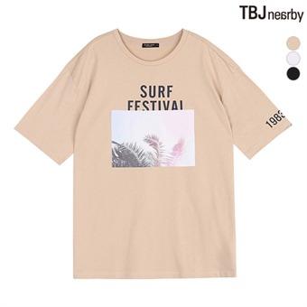 여성 중기장 전사프린트 티셔츠(T172TS690P)