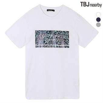 남성 라운드 호일 그래픽 티셔츠(T162TS007P)