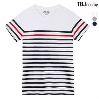 유니 라운드 마린 스트라이프 티셔츠(T162TS110P)
