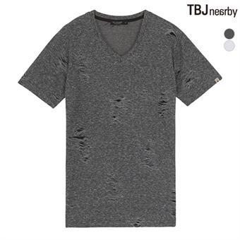 남성 브이넥 데미지 원단 티셔츠(T162TS160P)