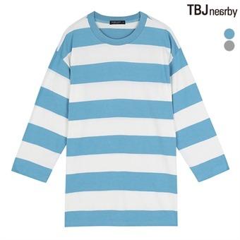 유니 라운드 7부 스트라이프 루즈핏 티셔츠(T162TS061P)