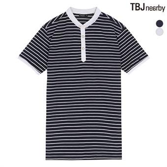 남성 싱글 1:1 스트라이프 애리 티셔츠(T162TS340P)