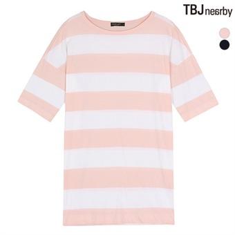 여성 루즈핏 슬럽 스트라이프 티셔츠(T162TS680P)