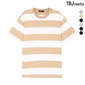 유니 16수 스트라이프 5부 루즈핏 티셔츠(T163TS080P)