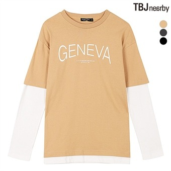 유니 16수 소매 레이어드 루즈핏 티셔츠(T163TS090P)