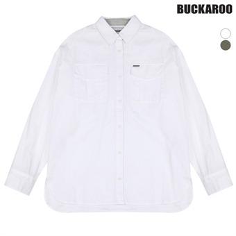 여성 코튼워싱 자수장식 루즈핏 셔츠(B163SH510P)