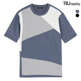 남성 네오프랜 절개배색 5부 루즈핏 티셔츠(T173TS090P)