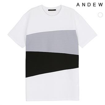 남성 폴리변형 배색절개 티셔츠(O173TS113P)