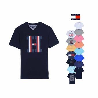 타미힐피거 반팔 면 라운드 브이넥 프린트 티셔츠 (OR)